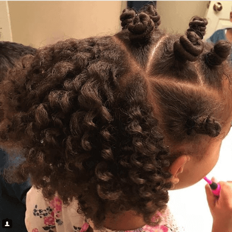 Curly Back With Short Pigtails