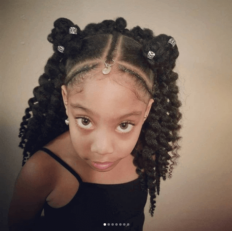 Curly Hairstyle With Short Pigtails