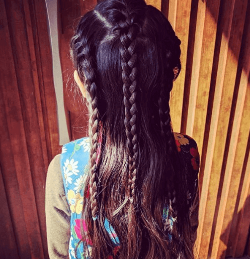 Double Parted Hairstyle With Nice Braids