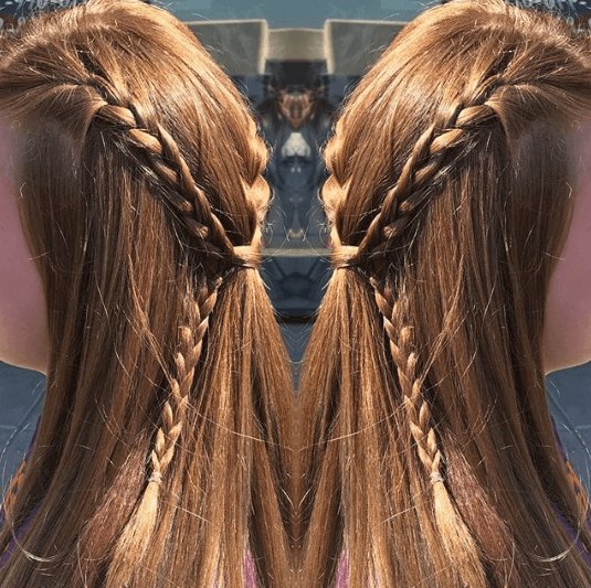 Long Side Parted Hair With Back Braids