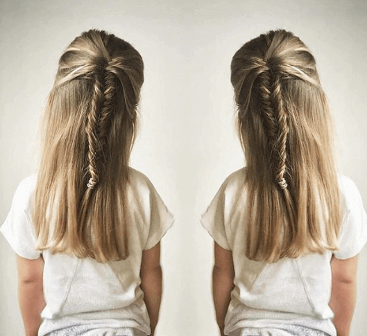 Long Straight Hair At Back With Fishtail Braids