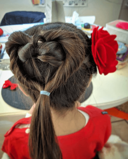 Twisted Heart Ponytail With Beautiful Flower