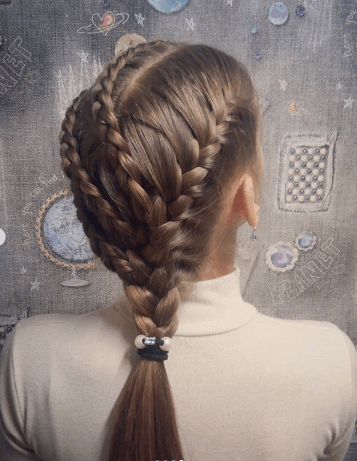Angled Braids With Ponytail