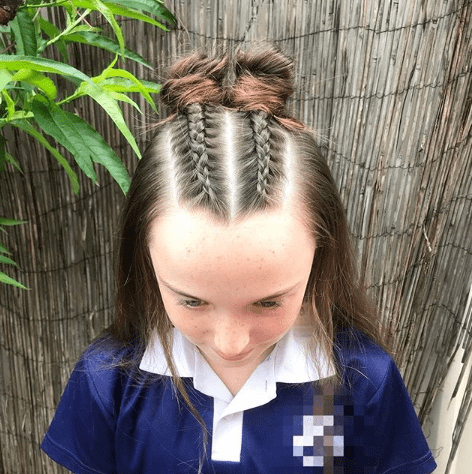 Braided Top With Pigtail Buns