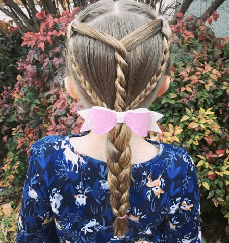 Éclair Braids With A Thick Braided Ponytail