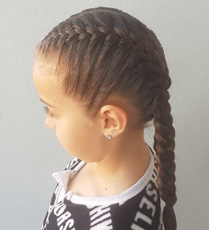 Flat Braided Hairstyle With Long Braided Pony