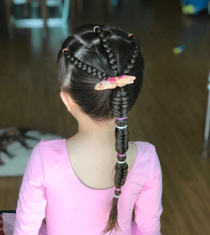 Heart Braided Crown With Thick Braided Ponytail