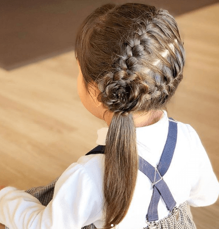 Horizontal Back Braids With Flower Design On The Side