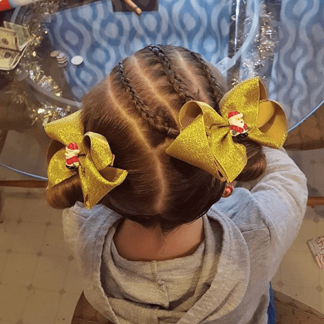 Parallel Thin Braids With Pigtails And Bow Clips