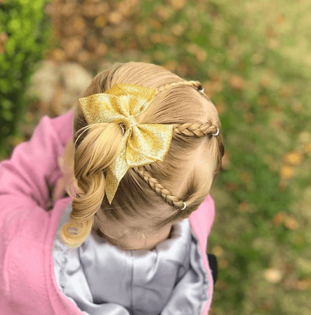 Thin Angled Braids With A Thick Swirling Side Pony