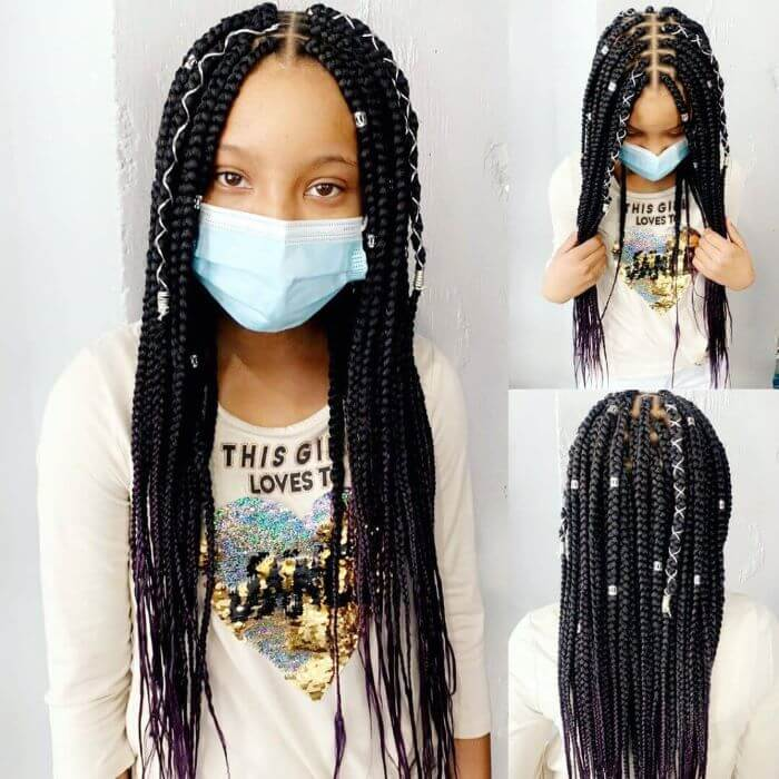 Center-Parted Box Braids With Beads and Ribbons