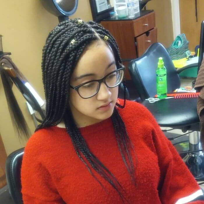 Side Parted Box Braids With Hair Accessories