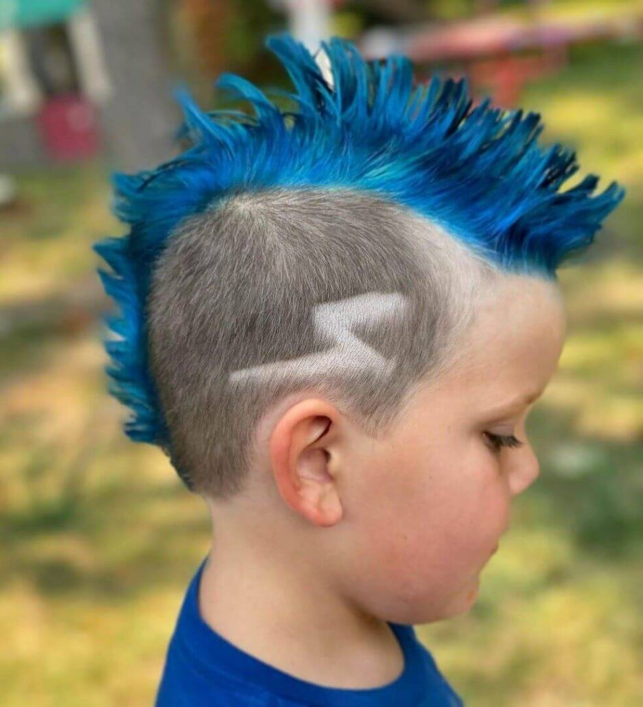 Colorful Mohawk With Flash Design